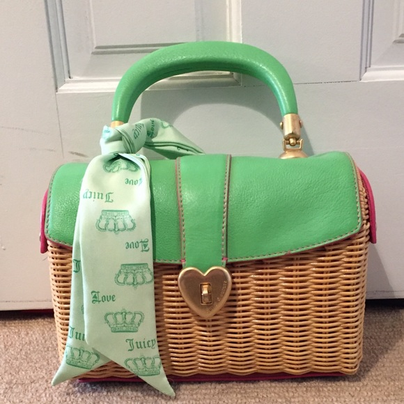 33a7ed1ed2 Juicy Couture Handbags - Juicy Couture Basket Purse with Green Leather Top
